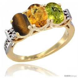 10K Yellow Gold Natural Tiger Eye, Whisky Quartz & Lemon Quartz Ring 3-Stone Oval 7x5 mm Diamond Accent