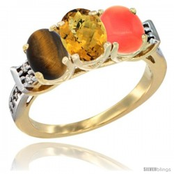 10K Yellow Gold Natural Tiger Eye, Whisky Quartz & Coral Ring 3-Stone Oval 7x5 mm Diamond Accent