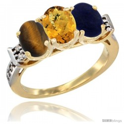 10K Yellow Gold Natural Tiger Eye, Whisky Quartz & Lapis Ring 3-Stone Oval 7x5 mm Diamond Accent