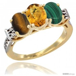 10K Yellow Gold Natural Tiger Eye, Whisky Quartz & Malachite Ring 3-Stone Oval 7x5 mm Diamond Accent