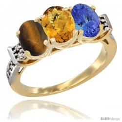 10K Yellow Gold Natural Tiger Eye, Whisky Quartz & Tanzanite Ring 3-Stone Oval 7x5 mm Diamond Accent