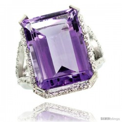 10k White Gold Diamond Amethyst Ring 14.96 ct Emerald shape 18x13 Stone 13/16 in wide