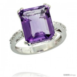 10k White Gold Diamond Amethyst Ring 5.83 ct Emerald Shape 12x10 Stone 1/2 in wide