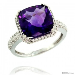 10k White Gold Diamond Halo Amethyst Ring Checkerboard Cushion 11 mm 5.85 ct 1/2 in wide
