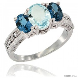 14k White Gold Ladies Oval Natural Aquamarine 3-Stone Ring with London Blue Topaz Sides Diamond Accent