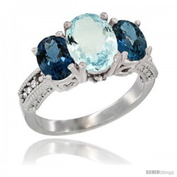 14K White Gold Ladies 3-Stone Oval Natural Aquamarine Ring with London Blue Topaz Sides Diamond Accent