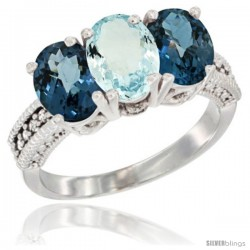 14K White Gold Natural Aquamarine & London Blue Topaz Sides Ring 3-Stone 7x5 mm Oval Diamond Accent