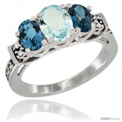 14K White Gold Natural Aquamarine & London Blue Ring 3-Stone Oval with Diamond Accent