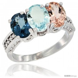 14K White Gold Natural London Blue Topaz, Aquamarine & Morganite Ring 3-Stone 7x5 mm Oval Diamond Accent