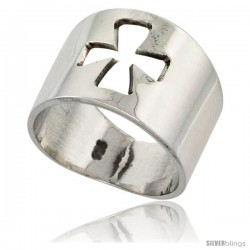 Sterling Silver Cigar Band Ring w/ Cross Cut Out Handmade 5/8 in wide