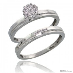 10k White Gold Diamond Engagement Rings Set 2-Piece 0.07 cttw Brilliant Cut, 1/8 in wide -Style Ljw006e2