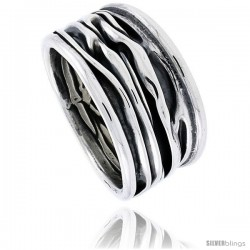Sterling Silver Crinkled Cigar Band Ring Handmade Antiqued finish, 5/8 in wide