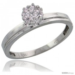 10k White Gold Diamond Engagement Ring 0.05 cttw Brilliant Cut, 1/8 in wide -Style Ljw006er
