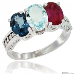 14K White Gold Natural London Blue Topaz, Aquamarine & Ruby Ring 3-Stone 7x5 mm Oval Diamond Accent