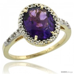 10k Yellow Gold Diamond Amethyst Ring 2.4 ct Oval Stone 10x8 mm, 1/2 in wide -Style Cy901111