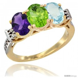 10K Yellow Gold Natural Amethyst, Peridot & Aquamarine Ring 3-Stone Oval 7x5 mm Diamond Accent