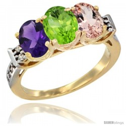 10K Yellow Gold Natural Amethyst, Peridot & Morganite Ring 3-Stone Oval 7x5 mm Diamond Accent