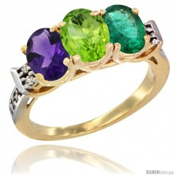 10K Yellow Gold Natural Amethyst, Peridot & Emerald Ring 3-Stone Oval 7x5 mm Diamond Accent