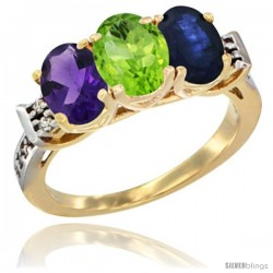 10K Yellow Gold Natural Amethyst, Peridot & Blue Sapphire Ring 3-Stone Oval 7x5 mm Diamond Accent