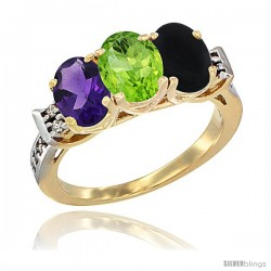 10K Yellow Gold Natural Amethyst, Peridot & Black Onyx Ring 3-Stone Oval 7x5 mm Diamond Accent