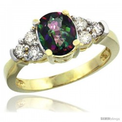 14k Yellow Gold Ladies Natural Mystic Topaz Ring oval 9x7 Stone Diamond Accent