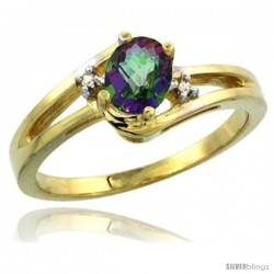 14k Yellow Gold Ladies Natural Mystic Topaz Ring oval 6x4 Stone Diamond Accent -Style Cy408165