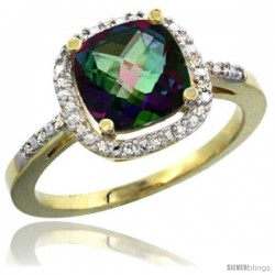 14k Yellow Gold Ladies Natural Mystic Topaz Ring Cushion-cut 3.8 ct. 8x8 Stone Diamond Accent