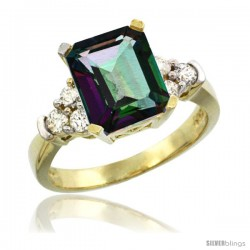 14k Yellow Gold Ladies Natural Mystic Topaz Ring Emerald-shape 9x7 Stone Diamond Accent