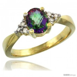 14k Yellow Gold Ladies Natural Mystic Topaz Ring oval 7x5 Stone Diamond Accent -Style Cy408168