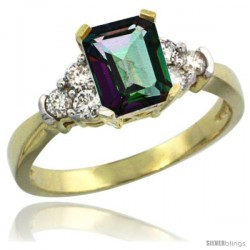 14k Yellow Gold Ladies Natural Mystic Topaz Ring Emerald-shape 7x5 Stone Diamond Accent