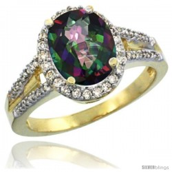 14k Yellow Gold Ladies Natural Mystic Topaz Ring oval 10x8 Stone Diamond Accent