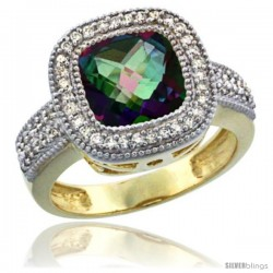 14K Yellow Gold Natural Mystic Topaz Ring Diamond Accent, Cushion-cut 9x9 Stone Diamond Accent