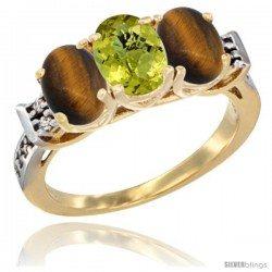 10K Yellow Gold Natural Lemon Quartz & Tiger Eye Sides Ring 3-Stone Oval 7x5 mm Diamond Accent