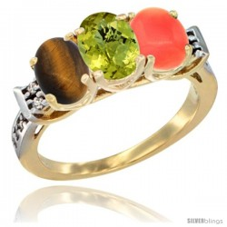 10K Yellow Gold Natural Tiger Eye, Lemon Quartz & Coral Ring 3-Stone Oval 7x5 mm Diamond Accent
