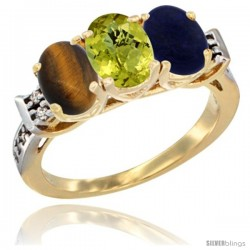 10K Yellow Gold Natural Tiger Eye, Lemon Quartz & Lapis Ring 3-Stone Oval 7x5 mm Diamond Accent