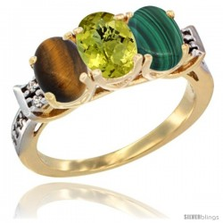 10K Yellow Gold Natural Tiger Eye, Lemon Quartz & Malachite Ring 3-Stone Oval 7x5 mm Diamond Accent