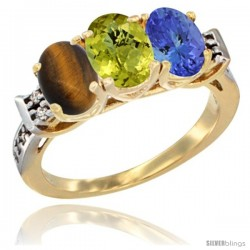 10K Yellow Gold Natural Tiger Eye, Lemon Quartz & Tanzanite Ring 3-Stone Oval 7x5 mm Diamond Accent