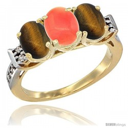 10K Yellow Gold Natural Coral & Tiger Eye Sides Ring 3-Stone Oval 7x5 mm Diamond Accent