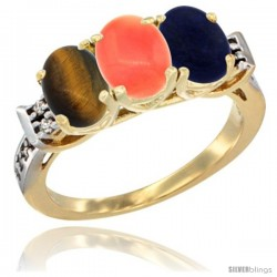10K Yellow Gold Natural Tiger Eye, Coral & Lapis Ring 3-Stone Oval 7x5 mm Diamond Accent