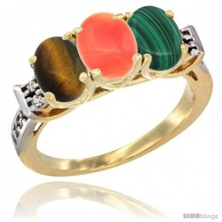 10K Yellow Gold Natural Tiger Eye, Coral & Malachite Ring 3-Stone Oval 7x5 mm Diamond Accent