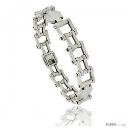 Sterling Silver Bicycle Chain Link Bracelet 1/2 in wide