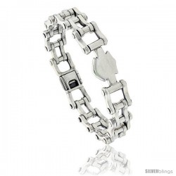 Sterling Silver Bicycle Chain Link Bracelet 1/2 in wide -Style Lx414