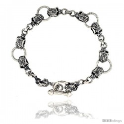 Sterling Silver Tattooed Skull Bracelet Handmade, 1/2 in wide