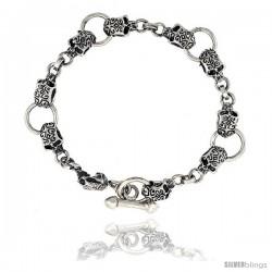 Sterling Silver Tattooed Skull Bracelet Handmade, 1/2 in wide