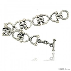 Sterling Silver Horseshoe Link Bracelet Toggle Clasp Handmade 3/4 in wide
