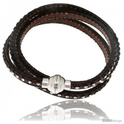 Surgical Steel Italian Leather Wrap Massai Bracelet Swarovski Crystal inlay w/ Super Magnet Clasp, Color Brown