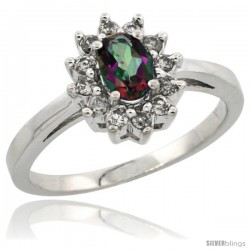 10k White Gold Mystic Topaz Diamond Halo Ring Oval Shape 1.2 Carat 6X4 mm, 1/2 in wide