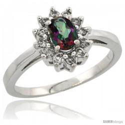 10k White Gold Mystic Topaz Diamond Halo Ring Oval Shape 1.2 Carat 6X4 mm, 1/2 in wide