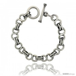 Sterling Silver 'Figure 8' Link Bracelet Toggle Clasp Handmade, 1/2 in wide