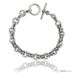 Sterling Silver Rolo Link Bracelet Toggle Clasp Handmade 3/8 in wide